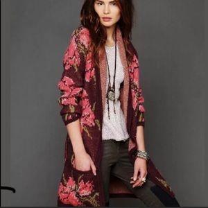 Free People Rose Flower Burgundy Sweater Cardigan
